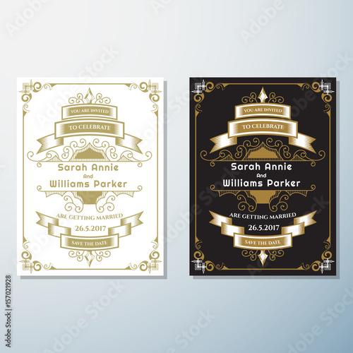 Fototapety, obrazy: Wedding Invitation Vintage flyer background Design Template