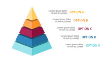 Vector 3d Pyramid Infographic, Growth Diagram Chart, Layered Performance Graph Presentation. Business Progress Concept With 5 Options, Parts, Steps, Processes. 16x9 Dark Slide Template.