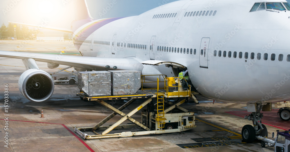 Fototapety, obrazy: PHUKET MAY 22 , 2017 : Preparing the aircraft before flight Loading of baggage. Food for flight check-in services and equipment to ready before boarding the airplane..