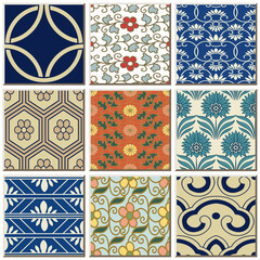 FototapetaOriental antique retro ceramic tile pattern combo collection set