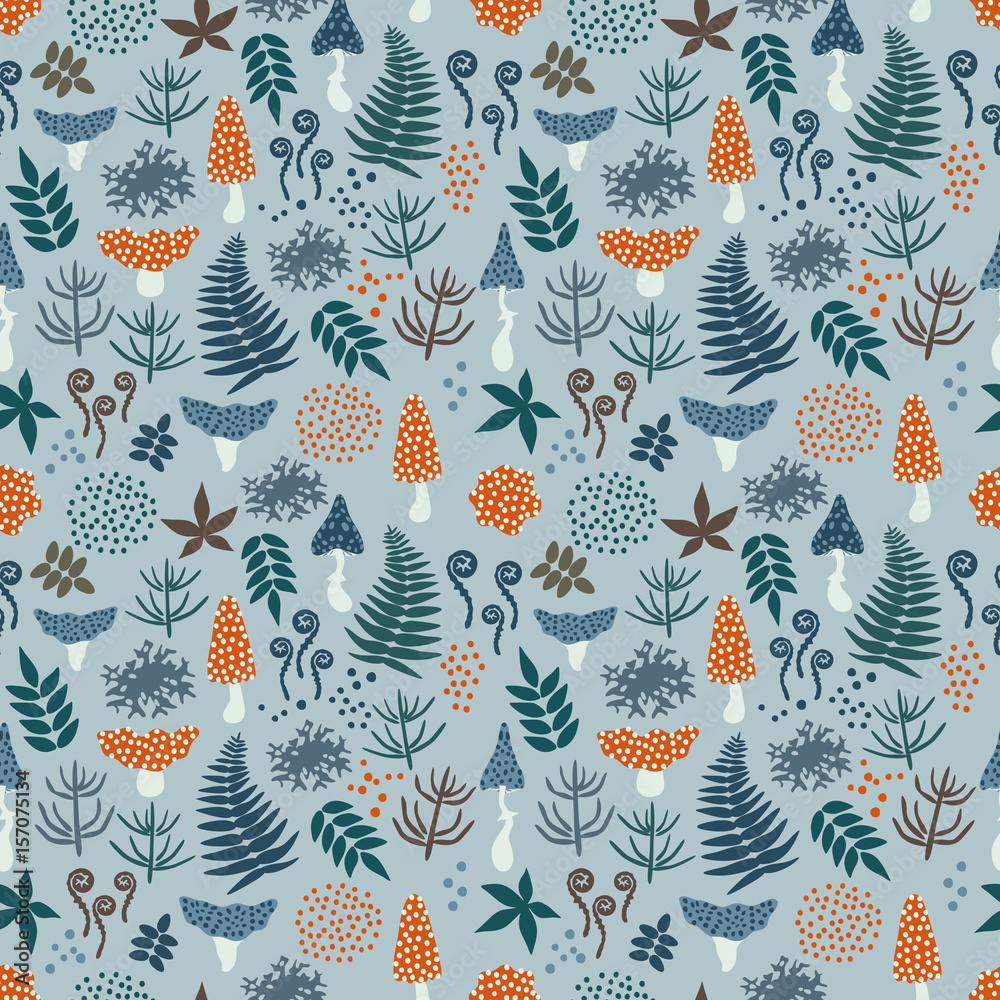 Decorative seamless pattern with mushrooms, ferns, leaves and moss on gray background. Magic forest pattern. Vector illustration