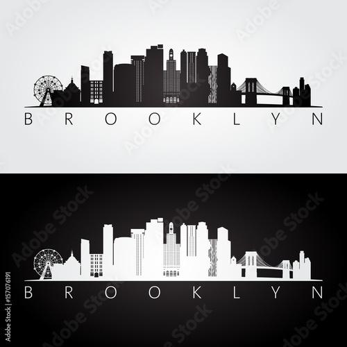 Canvas Print Brooklyn, New York city, USA skyline and landmarks silhouette, black and white design