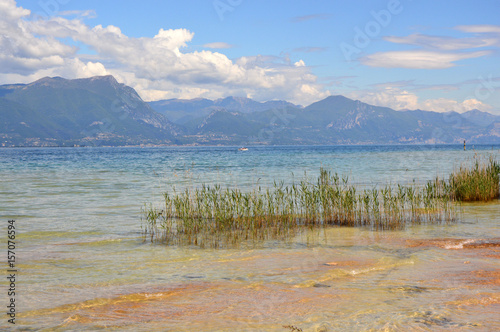 View of Lake Garda from Sirmione beach, Italy