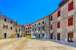 Colorful ancient square in Starigrad place, summer travel destination in Croatia, Iland Hvar scenery.