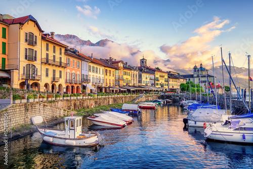 Photo  Cannobio Old Town port, Lago Maggiore lake, Italy