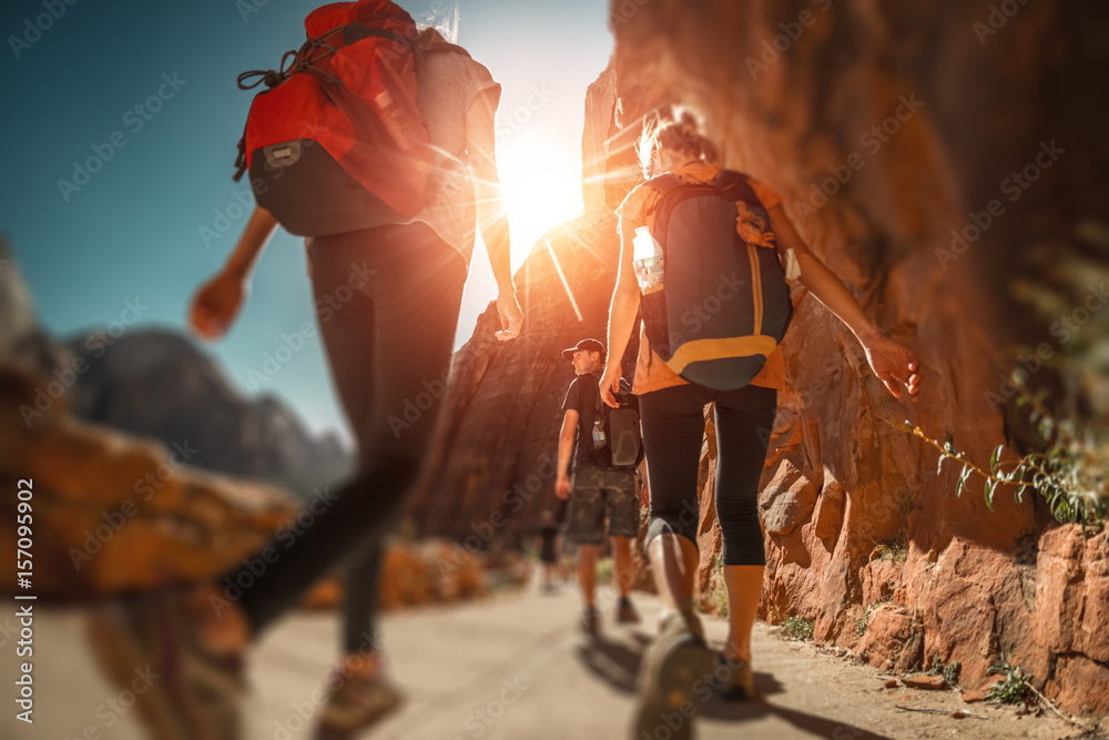Fototapety, obrazy: Hikers with backpacks walk on the trail in canyon of Zion National Park, USA. Blurred edges with tilt shift effect