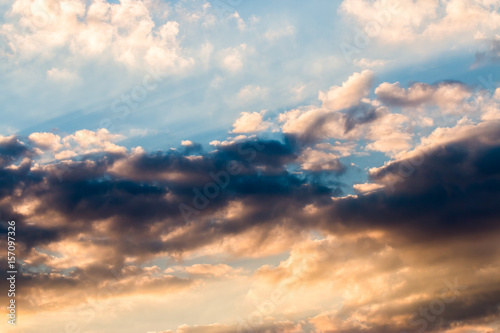 Fototapety, obrazy: colorful dramatic sky with cloud at sunset