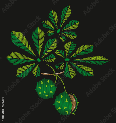 Embroidered leaves and fruits of chestnut  Embroidery on black