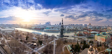 Wide Angle Aerial Panorama Of Moscow City Center, Moscow River And The Bypass Canal In Moscow, Monument To Peter I, The Cathedral Of Christ The Savior, Brusov Ship And Museon Park