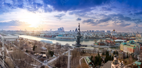 Poster Moscow wide angle aerial panorama of Moscow city center, Moscow River and the Bypass canal in Moscow, monument to Peter I, The Cathedral of Christ the Savior, Brusov ship and Museon park