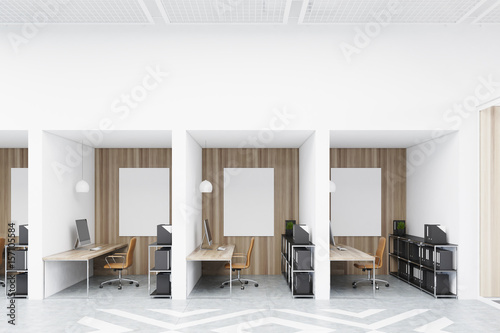Fotografiet Diamond office cubicles with pictures