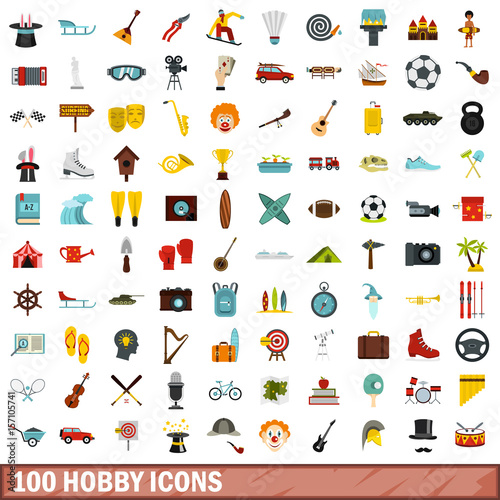100 hobby icons set, flat style Wallpaper Mural