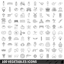100 Vegetables Icons Set, Outline Style