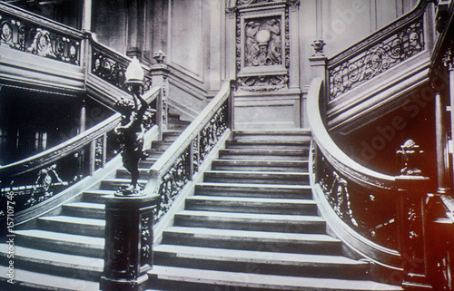 Inside the Titanic on an old photo, Belfast, Northern Ireland