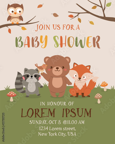 Cute Woodland Animals Illustration For Baby Shower