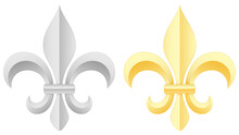 Vector Illustration Of A Pair Of Fleurs-de-lis: One Gold, One Silver.