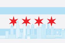 Chicago City Skyline Flag Colo...