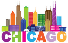Chicago City Skyline Text Colo...