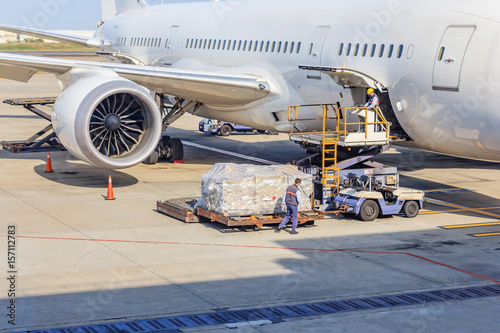 Loading platform of air freight to the aircraft Slika na platnu