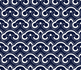 Panel Szklany Podświetlane Ornamenty Seamless Blue Chinese Background retro curve cross round Japanese chain