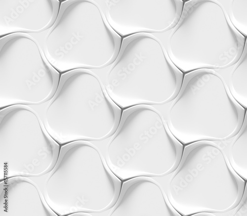 Poster Kunstmatig White curved lines background. Concrete decorative tile. 3D rendering design. Seamless texture .