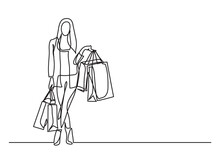 Shopping Woman With Bags  - Si...