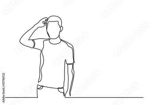 frustrated man - single line drawing Tapéta, Fotótapéta