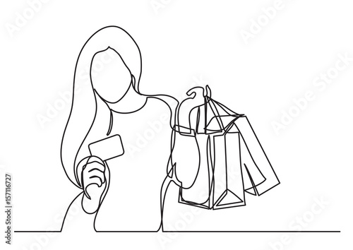 Fotografie, Obraz  shopping woman with bags and credit card  - single line drawing
