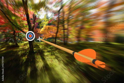 Foto op Aluminium Jacht Arrow moving with precision and blurred motion toward an archery target, part photo, part 3D rendering
