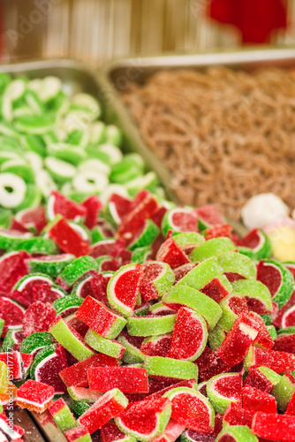 Foto op Aluminium Snoepjes Sweets on street market, colorful candy in outdoor shop