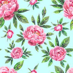 Obraz na Plexi Peonie Watercolor hand drawn vintage seamless pattern with peony flowers and leaves