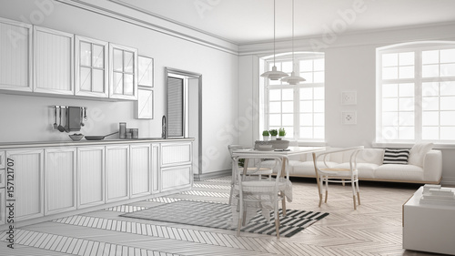 Unfinished Project Of Minimalist White Kitchen Sketch Abstract Interior Design Buy This Stock Illustration And Explore Similar Illustrations At Adobe Stock Adobe Stock