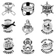 Set of hand drawn nautical emblems. Design elements for logo, label, sign, badge. Vector illustration