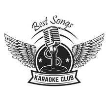 Karaoke Club Label Template. Emblem With Vintage Microphone And Wings. Vector Illustration