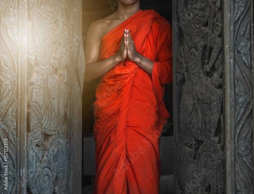Buddhist Monk hands , meditation or pray