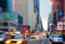 Blurred, Defocused Avenue Parallel To Times Square In New York City