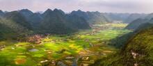 Rice Field In Valley Around Wi...