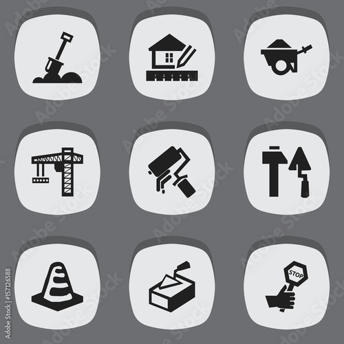 Fotografie, Obraz  Set Of 9 Editable Structure Icons