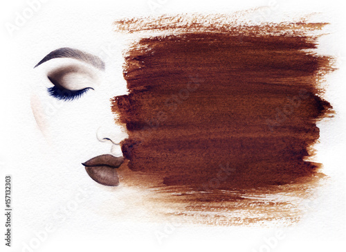 Canvas Prints Watercolor Face Make up. Woman face and place for text. Fashion illustration. Watercolor painting