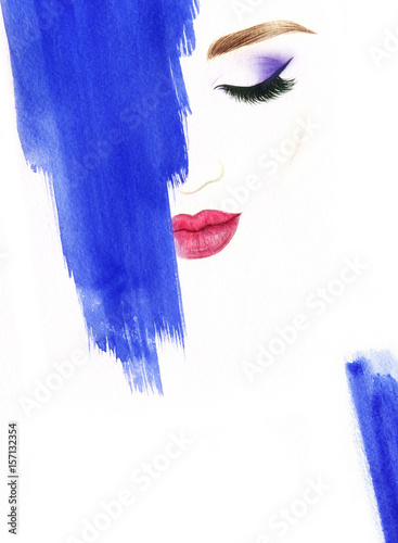Poster Portrait Aquarelle Make up. Woman face and place for text. Fashion illustration. Watercolor painting