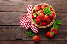 Fresh Strawberry In Basket On ...