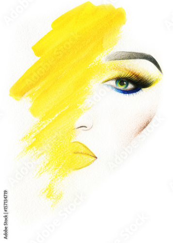 Poster Watercolor Face Make up. Woman face and place for text. Fashion illustration. Watercolor painting