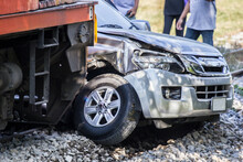 Train Crashes In Car, Firefight Car