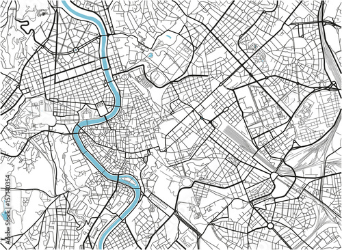 Fotomural Black and white vector city map of Rome with well organized separated layers