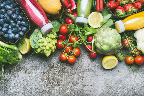 Fotografie, Obraz  Various colorful smoothie and juices in bottles with fresh organic vegetables an