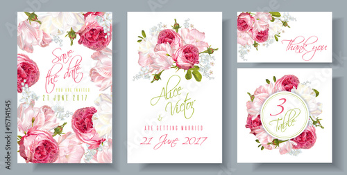 Photo  Rose wedding invitation