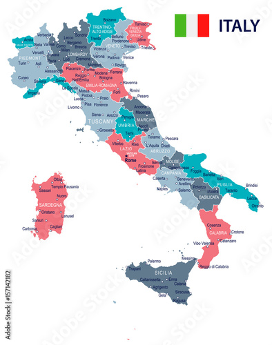 Fotografie, Tablou  Italy - map and flag – illustration
