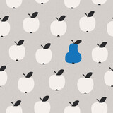 seamless pattern with many apples and one pear - 157142308