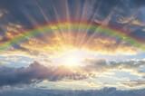 Fototapeta Tęcza - Beautiful sunset with a rainbow