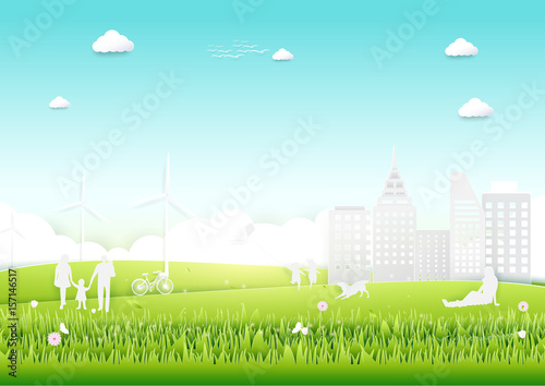 Poster Turquoise Ecology concept with green city and trees. paper art style design